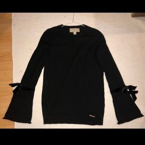 Michael Kors Black Bell Sleeve Tie Sweater
